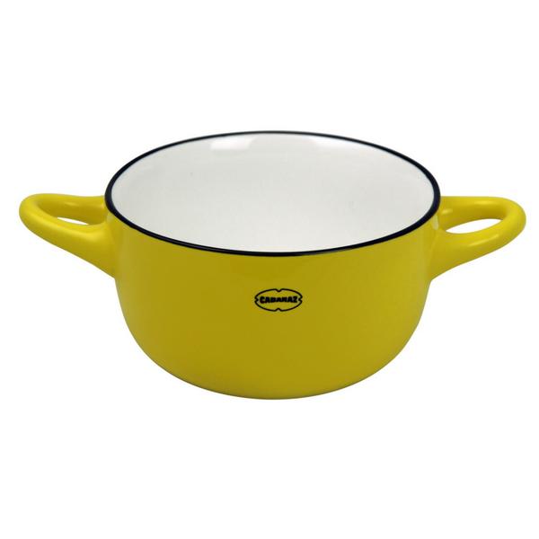 Hommikusöögikauss on kollane ja sangadega. Kõrgus 6 cm, Laius 17 cm, Mahutavus 275 ml. Nõud on nõudepesumasinas pestavad.